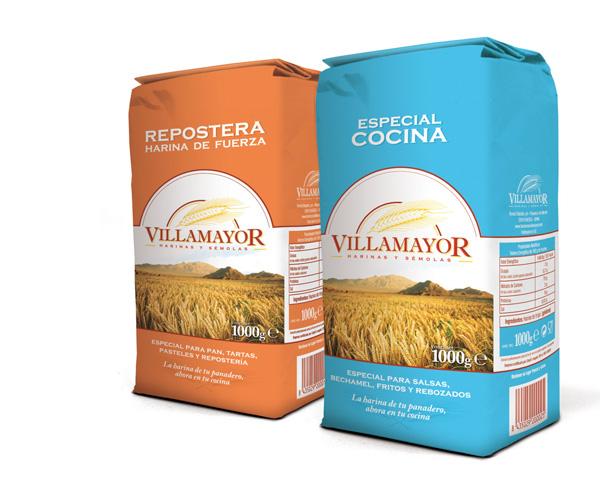 Harineras Villamayor: envases de harina de 1 kg.